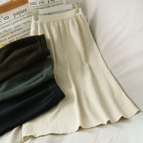 skirt Summer 2020 Average size Apricot, black, dark blue, green, coffee longuette High waist Solid color 18-24 years old A276860 30% and below