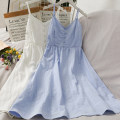 Dress Summer 2021 Blue, white Average size Mid length dress singleton  Sleeveless commute High waist A-line skirt camisole 18-24 years old Type A 30% and below