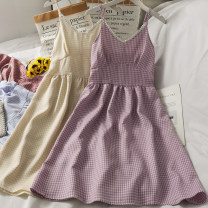 Dress Summer 2021 Purple, yellow, blue, red, black Average size Mid length dress singleton  Sleeveless commute V-neck High waist lattice camisole 18-24 years old Type A A281369 30% and below other