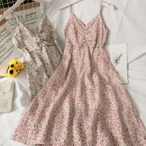 Dress Summer 2021 01 # blue, 01 # apricot, 02 # pink Average size Mid length dress singleton  Sleeveless V-neck High waist Broken flowers Socket A-line skirt camisole 18-24 years old Type A A281485 30% and below other
