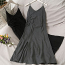 Dress Summer 2021 Gray, black Average size Mid length dress singleton  middle-waisted Solid color Socket Big swing camisole 18-24 years old A280916 30% and below