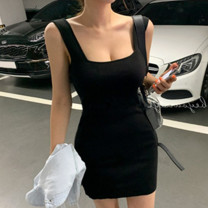 Dress Spring 2020 Milky white, black Average size Short skirt singleton  Sleeveless commute square neck Elastic waist Solid color Socket One pace skirt routine straps 25-29 years old Type H Other / other Korean version straps 91% (inclusive) - 95% (inclusive) knitting acrylic fibres