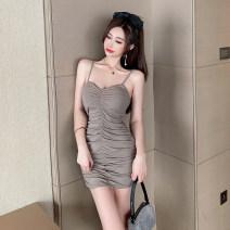 Dress Summer 2021 khaki S,M,L Short skirt singleton  Long sleeves commute V-neck High waist Solid color Socket One pace skirt routine Korean version 651# polyester fiber