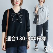 Women's large Autumn 2020 Gray, black For 2XL, 130-160 kg is recommended, 170-210 kg is recommended for 3XL, 220-260 kg is recommended for 4XL, and 270-300 kg is recommended for 5XL sweater commute Solid color Qi is in love 18-24 years old bow