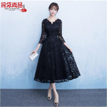 Dress / evening wear Wedding, adulthood, party, company annual meeting, routine, date XXL,XXXL,S,M,L,XL black Korean version Short skirt middle-waisted Spring 2017 Fluffy skirt Deep collar V Deep V style Pure silk satin 18-25 years old three quarter sleeve Nail bead Solid color Sequins