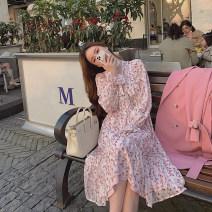 Dress Spring 2021 Apricot, pink S,M,L Mid length dress singleton  Long sleeves commute V-neck High waist Broken flowers Socket A-line skirt pagoda sleeve Others Type A Other / other Korean version Lace up, button, zipper DXX2001