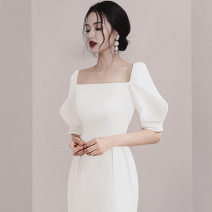 Dress Summer 2020 white XS,S,M,L,XL Middle-skirt square neck High waist puff sleeve Type H