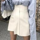 skirt Autumn 2020 Xs, s, m, l, XL, 2XL White, black Short skirt Versatile High waist Irregular Solid color Type A 25-29 years old MHMH01 other Man Hui PU Asymmetry, splicing