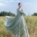 Dress Autumn of 2018 Smoke and frost M, L longuette singleton  Long sleeves commute stand collar middle-waisted Solid color Socket Big swing routine Others 25-29 years old Type X Cotton and linen Retro Pleating, Auricularia auricula, stitching, buttons BQL275 More than 95% other cotton