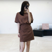 Dress Summer of 2019 Black, brown S, M Middle-skirt Fake two pieces Short sleeve commute Crew neck middle-waisted Solid color Socket A-line skirt Bat sleeve Others 25-29 years old Type X Self made ancient rhyme Simplicity Bowknot, lace up, stitching, asymmetry, bandage other cotton