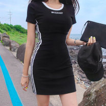 Dress Summer 2020 Black, gray S,M,L Mid length dress singleton  Short sleeve commute Crew neck High waist stripe Socket other routine Others 25-29 years old Type A DOCA Korean version printing YGZ20040 91% (inclusive) - 95% (inclusive) other cotton