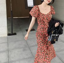 Women's large Summer 2021 Short dress bubble sleeve fishtail dress S M L XL 2XL 3XL Dress commute Korean version A01403+ Little IDA's flower 18-24 years old Other 100% Pure e-commerce (online only)