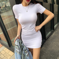Dress Summer 2021 White, black S,M,L Short skirt singleton  Short sleeve commute Crew neck High waist Solid color Socket Pencil skirt routine 25-29 years old Type A Ol style Pleat, pleat 81% (inclusive) - 90% (inclusive) brocade cotton