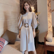 Dress Autumn 2020 Black, purple, milk tea 2 = s, 3 = m, 4 = L, 5 = XL longuette singleton  Long sleeves commute other middle-waisted other other other routine Others 25-29 years old Type A Pretend to be amashizheng Korean version Frenulum 5500234-2062811-001 More than 95% other polyester fiber