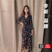 Dress Summer 2021 Navy Blue 2 = s, 3 = m, 4 = L, 5 = XL Middle-skirt singleton  Long sleeves commute V-neck High waist Broken flowers Socket routine Others 30-34 years old Type H Pretend to be amashizheng lady Pocket, print 5500282-1a60422-001 More than 95% Wool polyester fiber