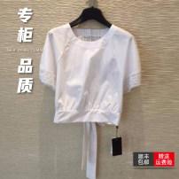 T-shirt white 2 = s, 3 = m, 4 = L, 5 = XL Summer 2021 Short sleeve Crew neck Straight cylinder Regular Bat sleeve commute cotton 51% (inclusive) - 70% (inclusive) Simplicity Solid color Novel goldette