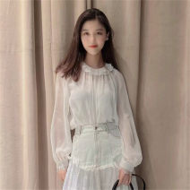 shirt white 2 = s, 3 = m, 4 = L, 5 = XL polyester fiber 96% and above Long sleeves commute Regular stand collar bishop sleeve Solid color 25-29 years old Straight cylinder Pretend to be amashizheng 5300601-1117661-001 fold