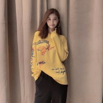 T-shirt White, yellow 2 = s, 3 = m, 4 = L, 5 = XL Spring 2021 Long sleeves Crew neck easy Regular routine commute cotton 96% and above 30-34 years old lady other Cartoon, animation, solid color, letters Pretend to be amashizheng