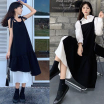 Women's large Spring 2021 Suspender skirt, shirt + suspender skirt Size M (80-100kg), l (100-120kg), XL (120-140kg), 2XL (140kg-160kg), 3XL (160kg-180kg), 4XL (180kg-200kg) Dress Two piece set commute Straight cylinder moderate Socket Long sleeves Solid color Korean version Polo collar routine