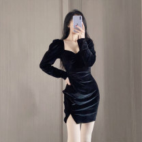 Dress Spring 2021 black S,M,L Short skirt singleton  Long sleeves street square neck High waist Solid color Socket One pace skirt other 31% (inclusive) - 50% (inclusive)