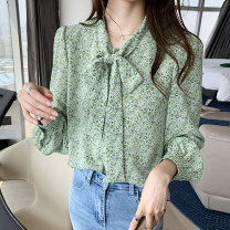 shirt green M 90-105 kg, l 105-120 kg, xl120-135 kg, 2xl135-150 kg, 3xl150-165 kg, 4xl165-180 kg Spring 2021 polyester fiber 31% (inclusive) - 50% (inclusive) Long sleeves commute Regular V-neck Single row multi button puff sleeve Broken flowers 25-29 years old Straight cylinder Korean version