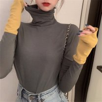 T-shirt Yellow sleeves, dark green sleeves, royal blue sleeves L 100-115kg, xl115-130kg, 2xl130-145kg, 3xl145-160kg, 4xl160-180kg Autumn 2020 Long sleeves High collar Self cultivation Regular routine commute cotton 31% (inclusive) - 50% (inclusive) Korean version originality Color matching Splicing