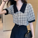 shirt Black, orange Summer 2020 polyester fiber 31% (inclusive) - 50% (inclusive) Short sleeve Versatile Regular Polo collar Single row multi button puff sleeve lattice Straight cylinder Button