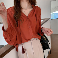 shirt Red, black Autumn 2020 polyester fiber 31% (inclusive) - 50% (inclusive) Long sleeves commute Medium length V-neck Single row multi button routine Solid color 25-29 years old Straight cylinder Korean version