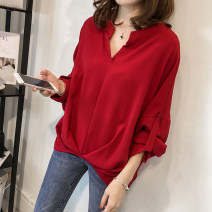 shirt Red, orange, khaki M 85-100kg, l 100-115kg, XL 115-130kg, 2XL 130-150kg, 3XL 150-170kg, 4XL 170-200kg Autumn of 2019 polyester fiber 31% (inclusive) - 50% (inclusive) Long sleeves commute Medium length V-neck Socket Bat sleeve Solid color 25-29 years old Straight cylinder Korean version