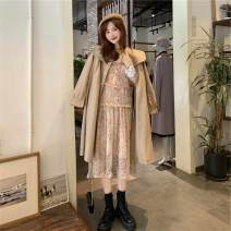 Sports suit Goose yellow undergarment, khaki windbreaker, fairy floral skirt Other / other male Average size Long sleeves stand collar