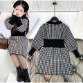 Dress houndstooth  female Other / other Other 100% spring and autumn princess Long sleeves lattice other A-line skirt 18 months, 2 years old, 3 years old, 4 years old, 5 years old, 6 years old, 7 years old, 8 years old, 9 years old, 10 years old, 11 years old, 12 years old, 13 years old, 14 years old