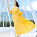 Dress Summer 2020 yellow S,M,L longuette singleton  Long sleeves Sweet One word collar Elastic waist Solid color Socket Big swing Hanging neck style Type A Open back, lace up, bandage Chiffon Bohemia