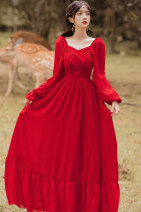 Dress Autumn 2020 gules S,M,L longuette singleton  Long sleeves Sweet V-neck High waist Solid color Socket Big swing bishop sleeve 25-29 years old Type A Chiffon polyester fiber