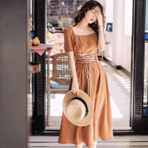Dress Summer of 2019 Caramel S,M,L Mid length dress singleton  Short sleeve commute square neck Elastic waist Solid color A-line skirt routine 18-24 years old Type A Korean version