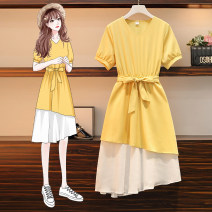 Women's large Summer 2021 yellow M for 90-105 kg, l for 105-125 kg, XL for 125-145 kg, XXL for 145-165 kg, XXXL for 165-190 kg Dress singleton  commute easy moderate Socket Short sleeve Solid color Korean version V-neck Polyester, others Three dimensional cutting routine Three dimensional decoration
