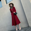 Dress Autumn of 2019 Black, temperament red S. M, l, XL, 2XL, fabric: Chiffon has lining, side zipper, back drawstring belt, pocket Mid length dress singleton  Long sleeves commute V-neck High waist Solid color Socket A-line skirt other Others Type A Retro Pocket, lace up, zipper, resin fixation