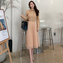 Dress Autumn 2020 Khaki, black S,M,L,XL Mid length dress singleton  Long sleeves commute Polo collar middle-waisted Solid color Socket Pleated skirt shirt sleeve Others 18-24 years old Korean version 81% (inclusive) - 90% (inclusive) other nylon