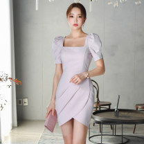 Dress Spring 2021 lilac colour S,M,L,XL Middle-skirt singleton  Short sleeve commute square neck High waist Solid color Irregular skirt puff sleeve 25-29 years old Type X Korean version brocade