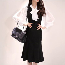 Dress Autumn of 2019 black S,M,L,XL Mid length dress singleton  Long sleeves commute High waist Ruffle Skirt 18-24 years old Other / other other