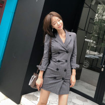 Dress Summer of 2019 grey S,M,L,XL Short skirt singleton  Long sleeves commute tailored collar High waist stripe double-breasted other routine 25-29 years old Other / other Korean version