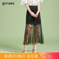 skirt Summer 2020 S,M,L,XL Black and empty Mid length dress commute High waist A-line skirt Solid color Type A 18-24 years old More than 95% gcrues polyester fiber Korean version