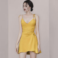 Dress Summer 2021 Yellow, black S,M,L,XL Short skirt singleton  Sleeveless commute V-neck High waist Solid color zipper Irregular skirt other camisole Type X Korean version