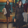 Dress Spring 2021 black S,M,L,XL Middle-skirt singleton  Long sleeves commute Polo collar High waist Solid color other Pencil skirt routine Others 25-29 years old Type H Other / other Ol style other polyester fiber