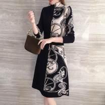 Dress Spring 2021 black XL,L,M,XXL Mid length dress singleton  Long sleeves commute Half high collar High waist Abstract pattern Socket A-line skirt routine Type A Xi can Korean version 9650# knitting