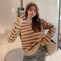 sweater Spring 2021 One size fits 80-130 kg Waterproof mink hair black, waterproof mink hair apricot, waterproof mink hair white Long sleeves Socket singleton  Regular other 95% and above Crew neck Regular commute routine lattice Straight cylinder Regular wool Xi can 9766#
