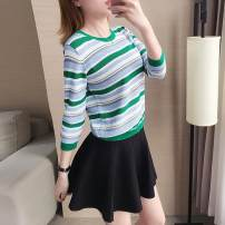 Wool knitwear Summer 2021 S,L,XL,M Green single top Long sleeves singleton  Socket other 31% (inclusive) - 50% (inclusive) Regular routine commute easy Low crew neck routine stripe Socket Korean version 9278 single top Xi can