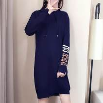 Dress Autumn 2021 royal blue S,XL,M,L Mid length dress singleton  Long sleeves commute Crew neck High waist Solid color Socket One pace skirt routine Type O Xi can Korean version 9188# knitting