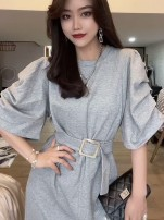 Dress Summer 2021 Black, gray, oatmeal S,M,L,XL Mid length dress singleton  Short sleeve commute Crew neck High waist Solid color Socket other puff sleeve Others 18-24 years old Type H Korean version 31% (inclusive) - 50% (inclusive) other cotton