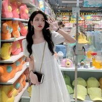 Dress Summer 2021 White, blue S,M,L,XL Mid length dress singleton  Short sleeve commute square neck Loose waist Solid color Socket Princess Dress other 18-24 years old Type A Korean version 81% (inclusive) - 90% (inclusive) other nylon
