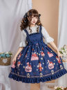 Dress Summer 2020 Light blue jsk suspender skirt, black jsk suspender skirt, cyan jsk suspender skirt, light pink jsk suspender skirt, light purple jsk suspender skirt S,M,L Middle-skirt singleton  Sleeveless Sweet High waist zipper straps Type A Lolita